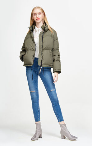 Vero Moda Contrasting Zip Spliced White Duck Down Jacket|317423502