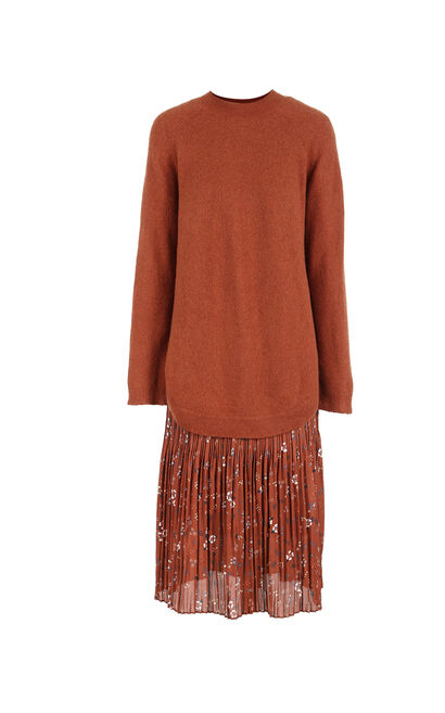 Vero Moda 2018 Autumn 64% Wool Knitted Chiffon Dress, Dark Brown, large