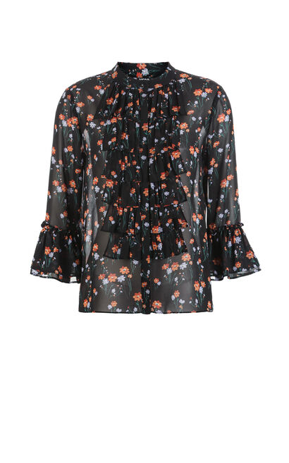 Vero Moda Women's Two-piece Puff Sleeves Floral Chiffon Shirt|317331509, Black, large