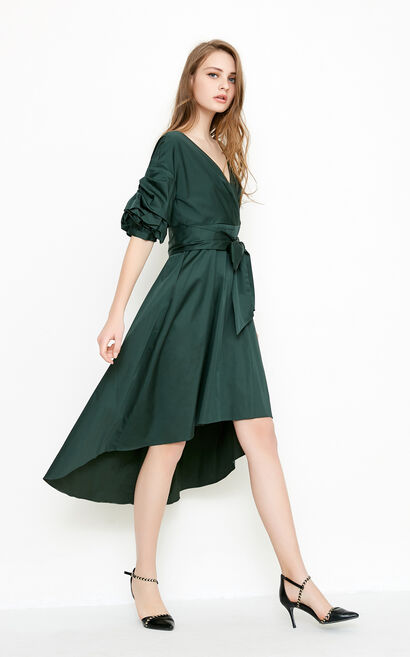 Vero Moda 2018 summer pleated puff sleeves slim down middle-length dress |31826Z501, Green, large
