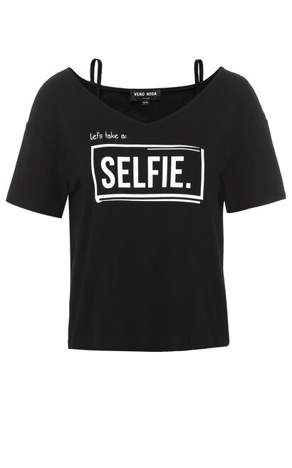 Vero Moda Neck Straps Casual T-Shirt|317201508, Black, large