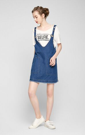 Vero Moda Frayed Hem Pure Color Denim Overall Dress|317242504