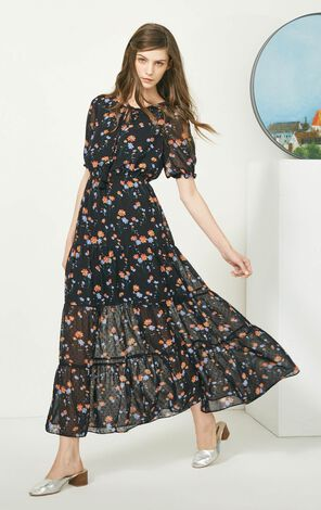Vero Moda Crew Neck Tie-up Print Puff Sleeve Long Dress|31736Z511