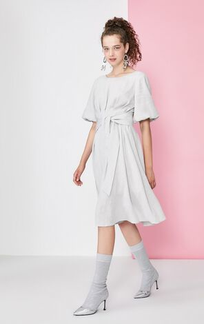 Vero Moda Balloon Sleeves Lace-up Platycodon Dress|31936Z522