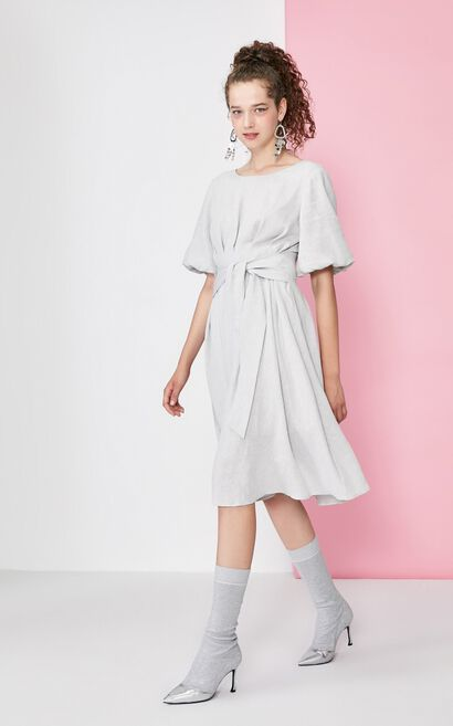 Vero Moda Balloon Sleeves Lace-up Platycodon Dress|31936Z522, Orchid Grey, large