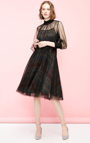 Vero Moda See-through Gauzy Print Dress