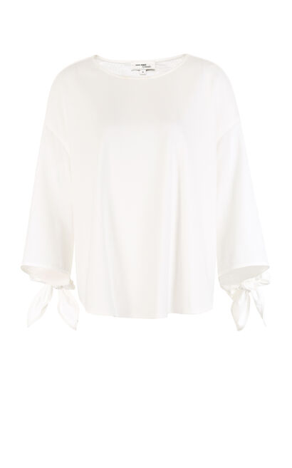 Vero Moda Spliced Flare Sleeves Lace-up T-shirt|317430506, White, large