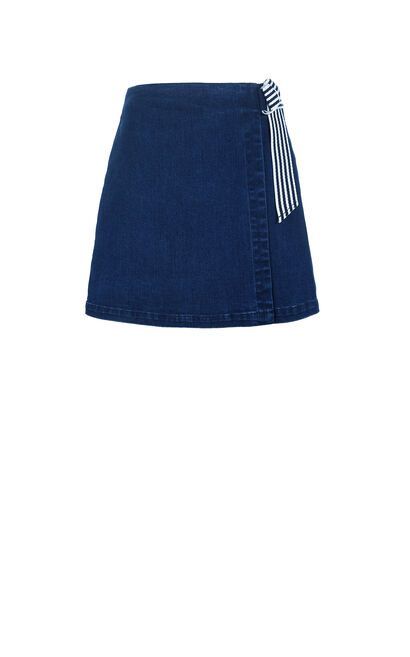Vero Moda Decorative Waist Belt A-line Denim Midi Skirt|318237508, Blue, large