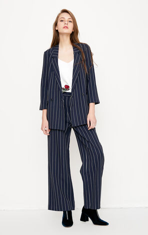 Vero Moda Women's Striped Wide-leg Casual Pants|3181PL505