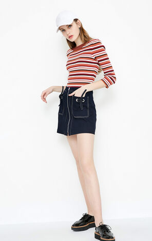 STANDING HW DENIM SKIRT(SL)