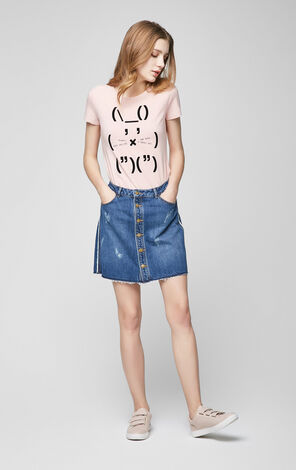 Vero Moda 100% Cotton Decorative Button Fly Denim Skirt|317137509