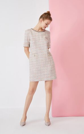 Vero Moda Chain Button Round Neckline Tweed Dress|32016Z501