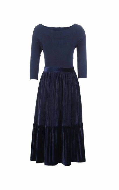 Vero Moda women's spliced 3/4 sleeves dress|318361508, Blue, large