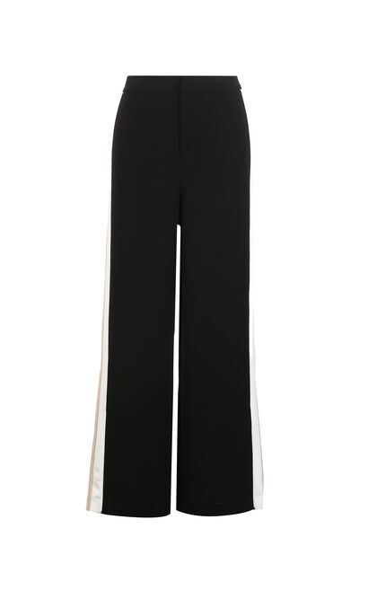 Vero Moda new side stripes simple cropped straight casual pants women|318150517, Black, large