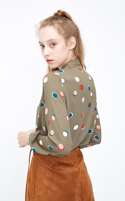 Vero Moda 2018 Winter Dot Print Lace-up Two-layer Shirt , Green, large
