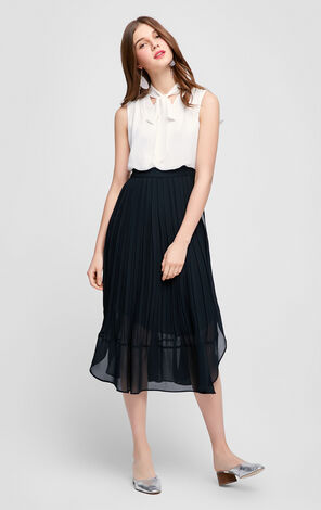 Vero Moda Lace-up Collar Accordion Fake Two-piece Spliced Dress|31717A502