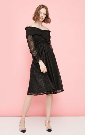 Vero Moda 2019 Summer Off-shoulder Laced A-line Midi Dress