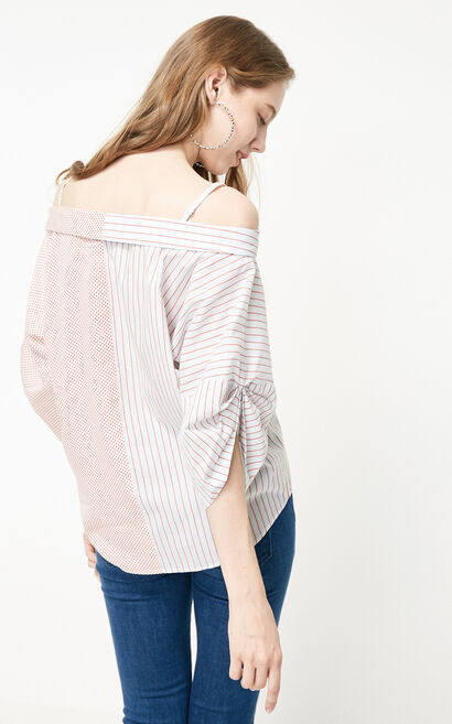 Vero Moda 2019 Spring New Boat Neck Pleated Sleeves Striped Polka Dot Assorted Colors Shirt, Army Green, large