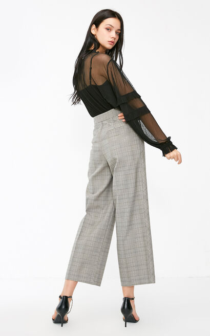 Vero Moda 2018 Winter Plaid Pattern High-rise Concealed Button Wide-leg Pants , Grey, large