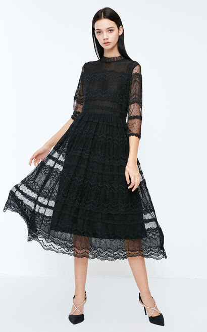 Vero Moda 2018 Winter Lace Cinched Waist 3/4 Sleeves Dress, Black, large