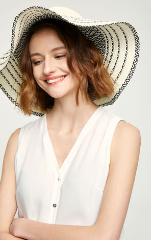 Vero Moda Black and White Splice Round Crown Wide Brim Straw Hat|317186502