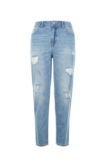 Vero Moda BF Style 100% Cotton Ripped Crop Jeans|317149503, Blue, large