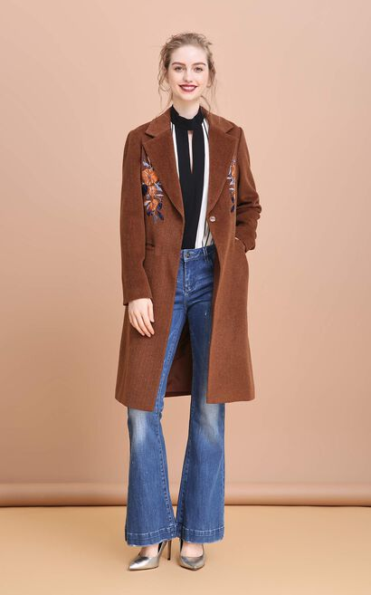 Vero Moda Floral Embroidery Lapel Damaskeen Long Coat |317409503, Brown, large