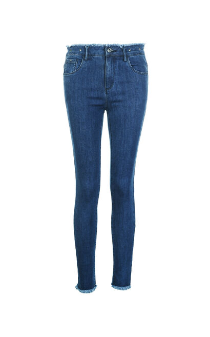 Vero Moda 2018 Autumn Raw-edge Cuffs Slim Fit Crop Jeans , Blue, large