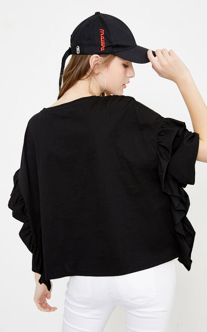 Vero Moda Women's Loose Fit Letter Embroidery Drop-shoulder Sleeves T-shirt|318201513, Black, large