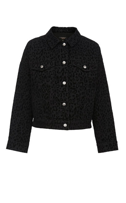 Vero Moda Women's 100% Cotton Leopard Print Denim Jacket|319357508, Black, large