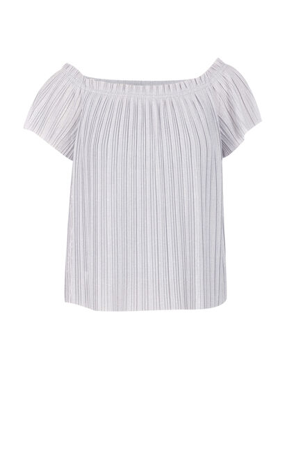 Vero Moda Boat Neckline Accordion SS T-Shirt|317201549, Light Grey, large