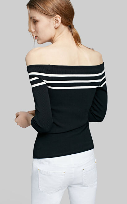 Vero Moda Boat Neck 3/4 Sleeves Slight Stretch Striped Knit|317230502, Black, large
