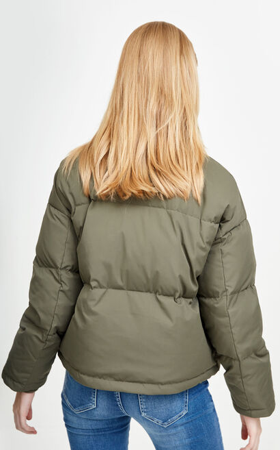 Vero Moda Contrasting Zip Spliced White Duck Down Jacket|317423502, Green, large