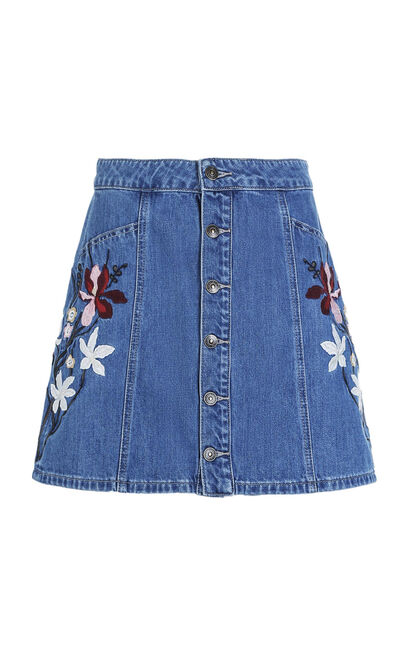 Vero Moda Women's Embroidered A-lined Denim Skirt|318137501, Light blue, large