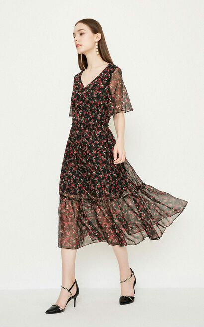 Vero Moda Women's Floral V-neckline Pleated Chiffon Dress|31826Z507, Black, large