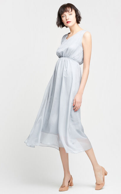 Vero Moda Back V-neckline Elasticized High-waist A-line Chiffon Dress|31737A538, Grey, large