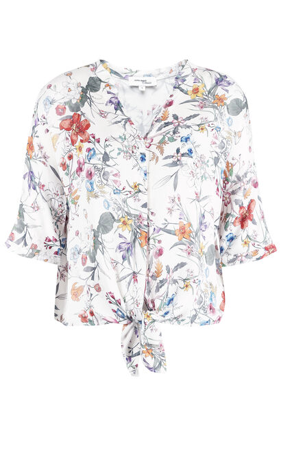 Vero Moda Women's Loose Fit Lace-up Print Elbow Sleeves Shirt|31826W502, White, large