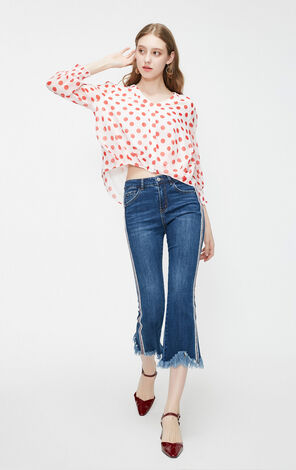 Vero Moda Women's Polka Dot Print Puff Sleeves Chiffon Shirt|319131543