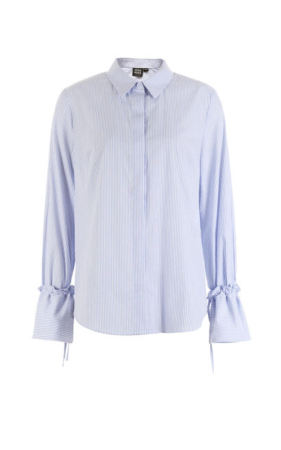Vero Moda Lace-up Wide-cuff Loose Fit 100% Cotton Shirt|317405502, Blue, large