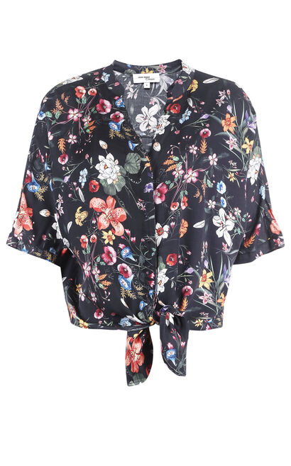 Vero Moda Women's Loose Fit Lace-up Print Elbow Sleeves Shirt|31826W502, Black, large