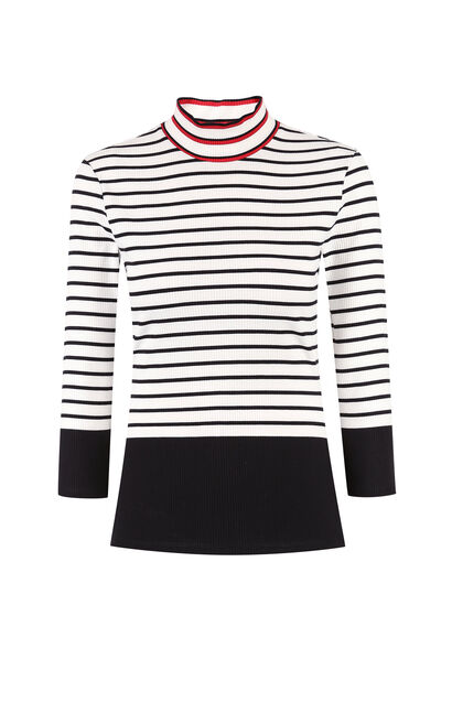 Vero Moda Women's Slim Fit Mock Neck Striped Contrasting 3/4 Sleeves T-shirt|317430519, White, large