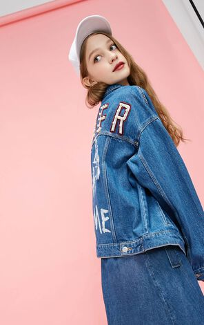 Vero Moda 2019 Pearly Trims Antique Finish Graffiti Denim Jacket|319157510