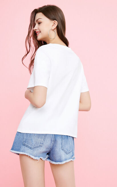 Vero Moda Women's Floral Embroidery Letter Pattern T-shirt|318201654, White, large