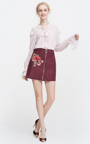 Vero Moda Lace-up Double-layer Ruffled Sleeves Chiffon Shirt|317405508