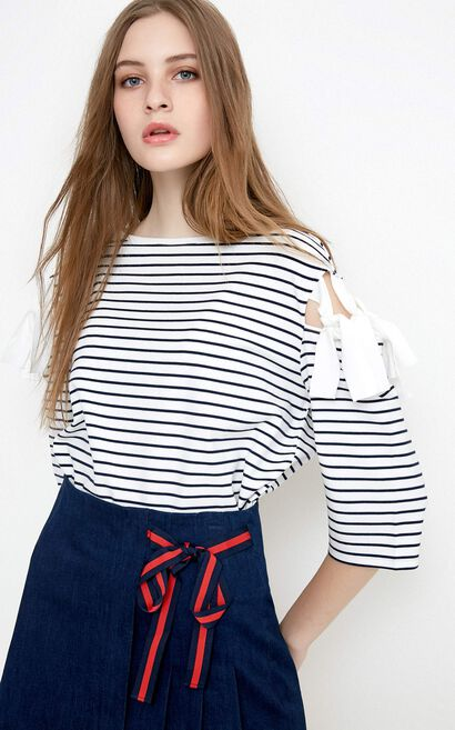 Vero Moda Women's Lace-up Cut-out 3/4 Sleeves Striped Knit T-shirt|318230505, White, large