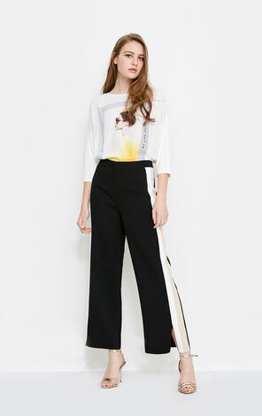Vero Moda new side stripes simple cropped straight casual pants women|318150517