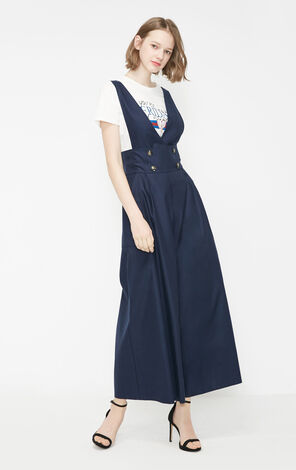 Vero Moda 2019 Spring New Double-breasted Side Pocket Wide-leg Overalls