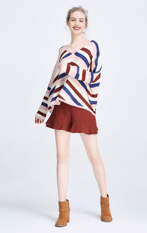 Vero Moda Colored Stripes Round Neckline Knit|317413501