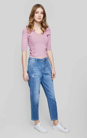 Vero Moda 100% Cotton Loose Fit Crop Jeans |317149523