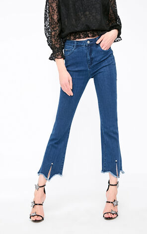 Vero Moda 2019 Women's Raw-edge Cuffs High-rise Jeans|319149515